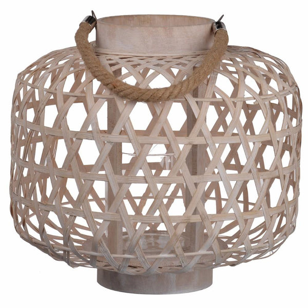 BM145719 Basket styled beautiful Coconino Wood Lattice Lantern Round