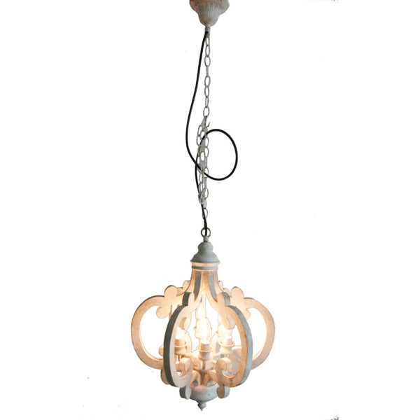Antiqued Wood And Metal Chandelier, White - BM147073