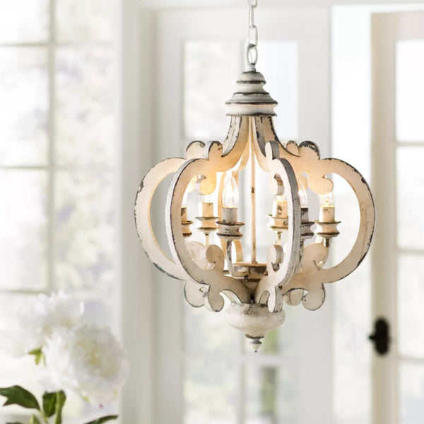 BM147073 Antiqued Wood And Metal Chandelier, White