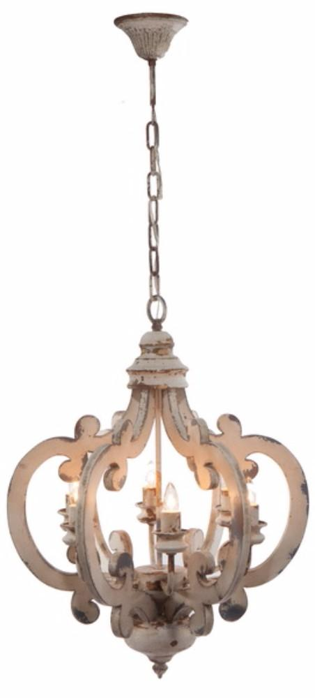 Antiqued Wood And Metal Chandelier, White