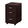 3 Drawer Wooden File Cabinet With Casters and Metal Handles, Brown - BM148328