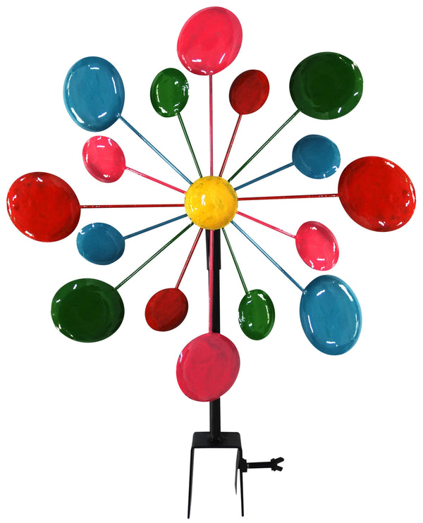 BM148407 Multi-Color Metal Circles Windmill With Stake & Fence Topper