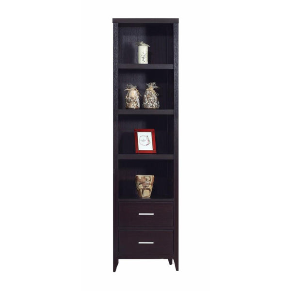 BM148734 Well- Designed Media Tower With Display Shelves, Dark Brown