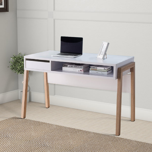 Contemporary Style Desk With Open Storage Shelf, White and brown - BM148830