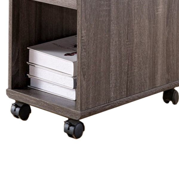 Elegant Chairside Table With Display Shelves and Drawer, Gray - BM148899