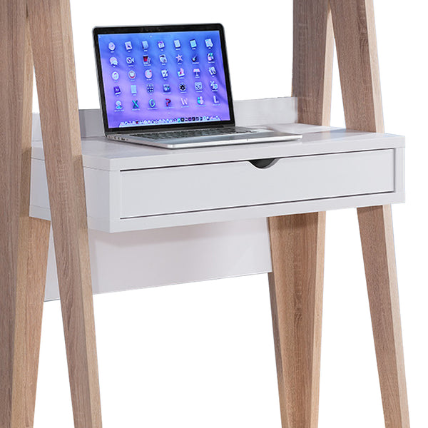 Huge Adorning Computer Desk With Drawer, Light Brown and White - BM148919