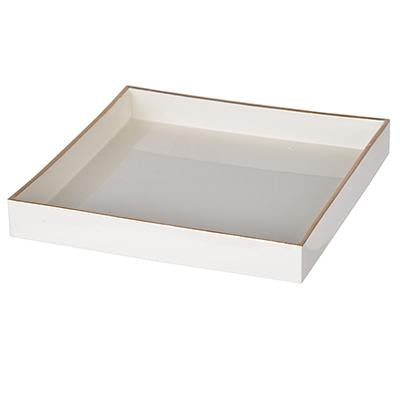 BM152846 Solid Wooden Square Tray, White