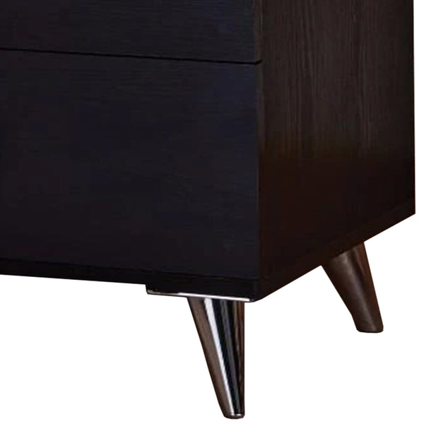 BM154631 Contemporary Style Wood & Metal Nightstand, Black & Chrome
