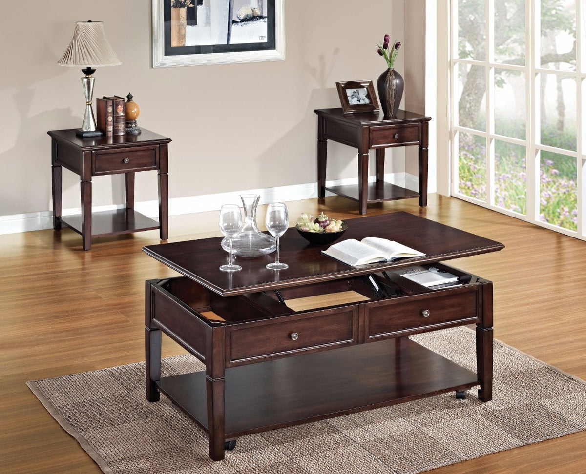 Benzara Bm156758 Wooden Coffee Table With Lift Top Walnut Brown
