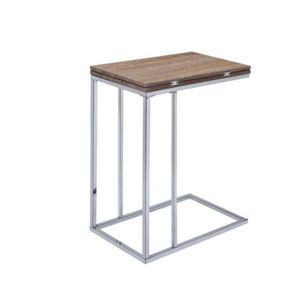 BM157283 Vogue Side Table, Weathered Oak & Chrome