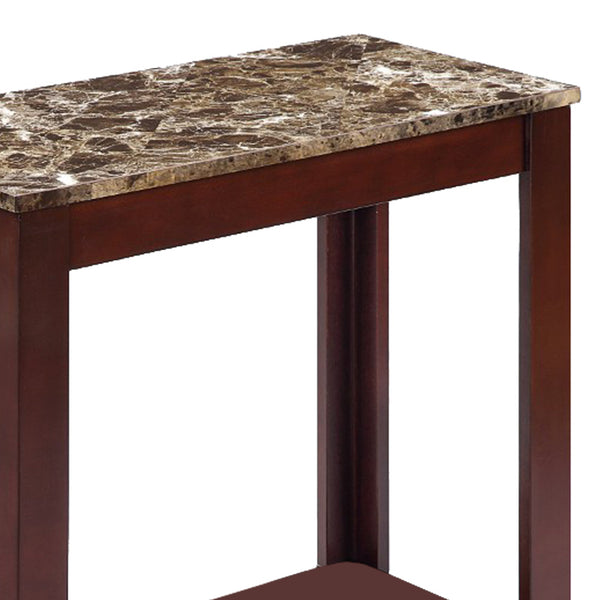 Impressive Chairside Table With Marble Top, Brown - BM157883