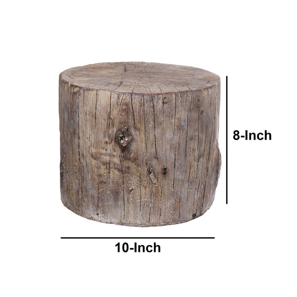 Round Tree Stump Cement Stool, Weathered Brown - BM158297