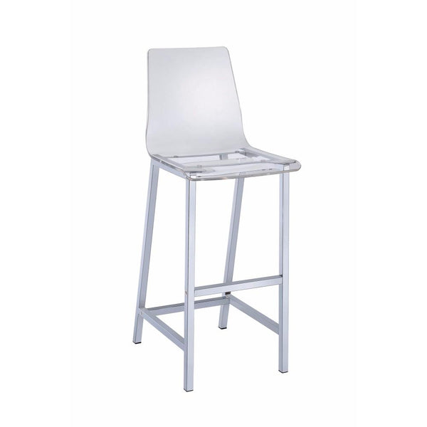 BM160767 Elegant Acrylic Bar Height Stool with Chrome Base, Clear And Silver, Set of 2