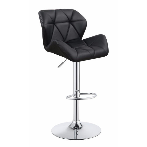 BM160772 Adjustable Diamond Bar Stool with Chrome Base, Black ,Set of 2