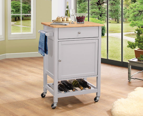 BM163656 Kitchen Cart With Wooden Top, Natural & Gray