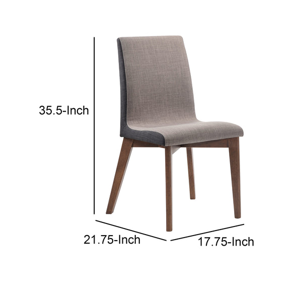 Wooden Armless Dining Side Chair, Gray & Walnut Brown, Set of 2 - BM163723