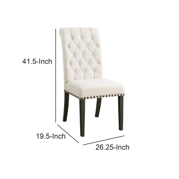 BM163742 Chic Wooden Dining Side Chair, Beige, Set of 2