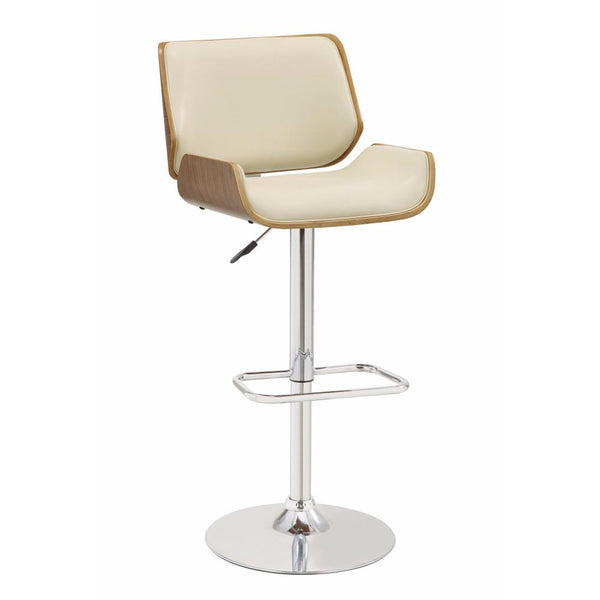 BM163781 Adjustable Bar Height Stool, Cream & Walnut Brown