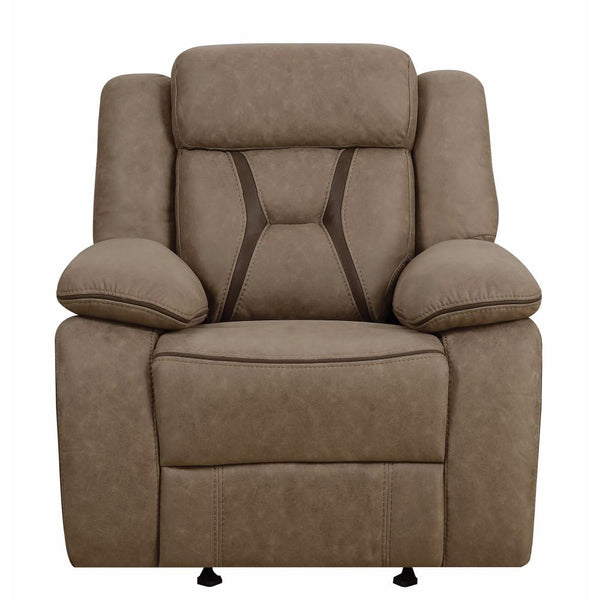 BM163889 Glider Recliner With Contrast Stitching, Brown