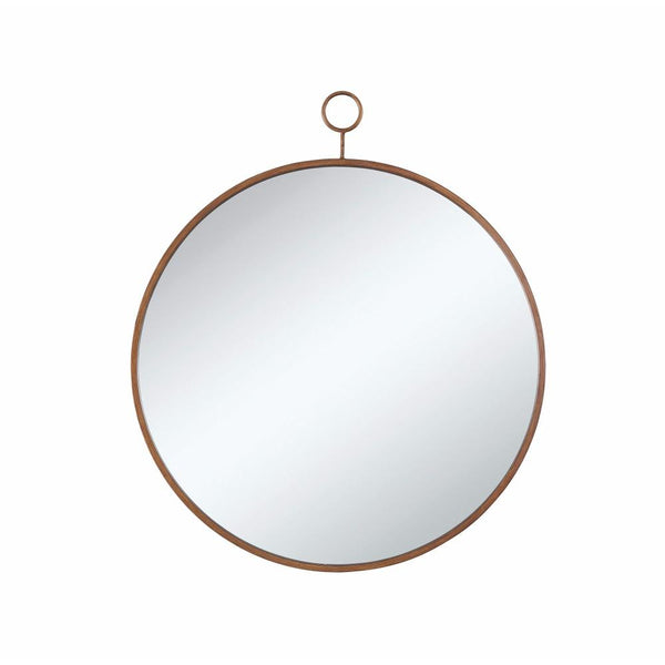BM163973 Round Wall Mirror With A Loop Hanger, Gold And Silver