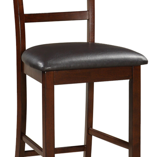 Wooden Counter Height Chair, Dark Brown, Set of 2 - BM166590