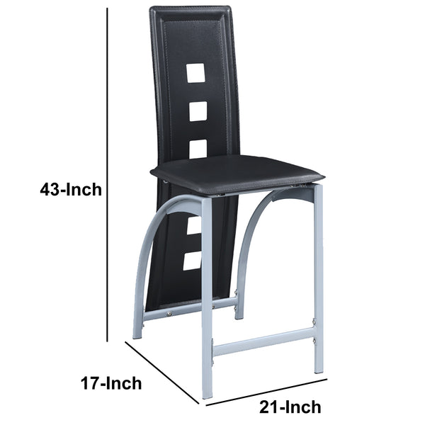 Metal & Faux Leather High Chair With Eyelet Design, Black, Set of 2 - BM166591