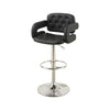 BM166621 Chair Style Barstool With Tufted Seat And Back Black And Silver
