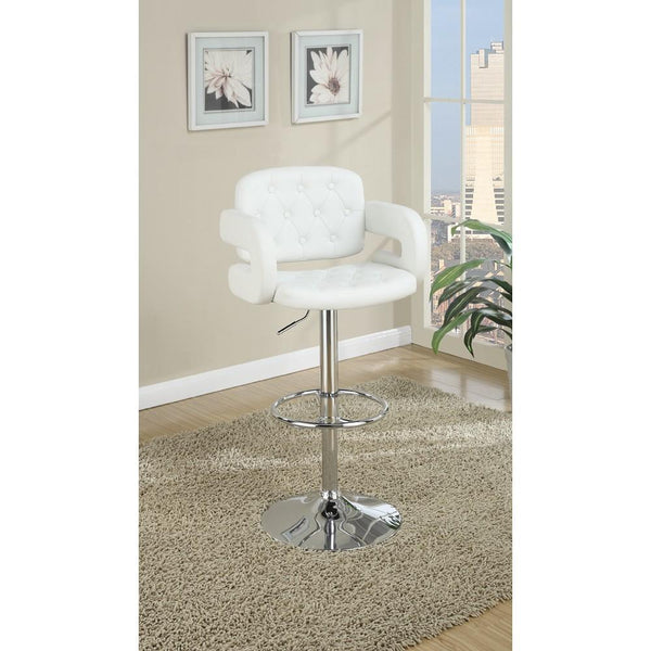 BM166622 Chair Style Barstool With Tufted Seat And Back White And Silver
