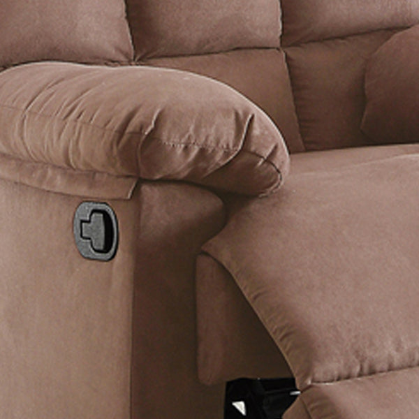 BM166720 Plush Cushioned Recliner With Tufted Back And Roll Arms In Saddle Brown