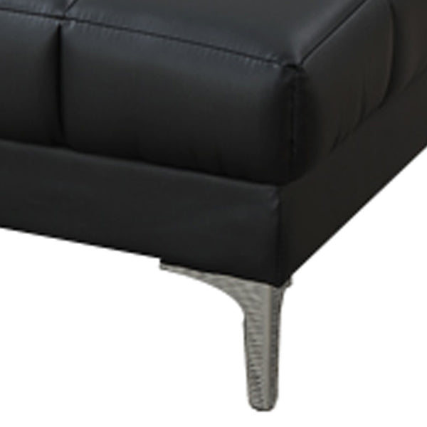Modish Bonded Leather Ottoman In Black - BM166757