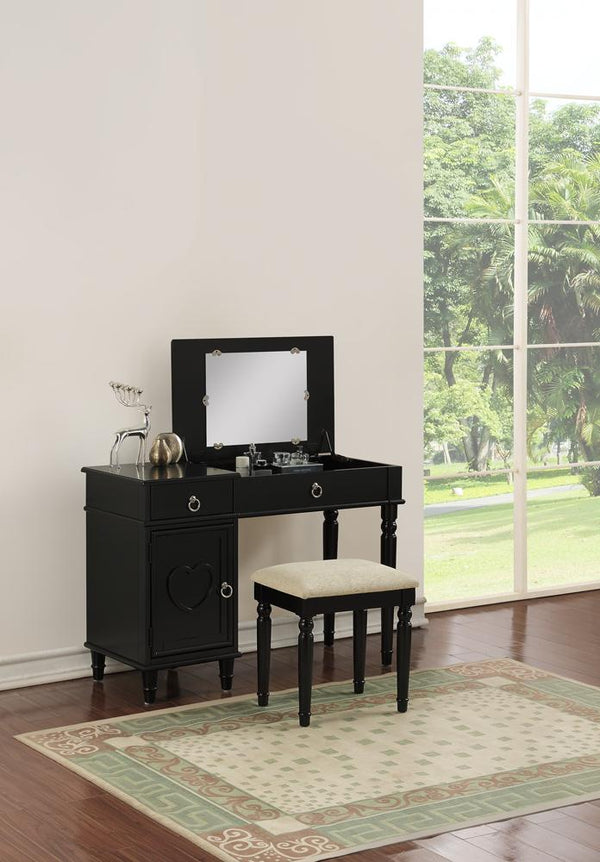 BM167190 Seraph Vanity Set Featuring Stool And Mirror Black