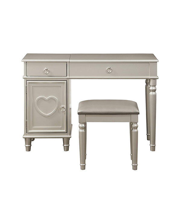 BM167191 Seraph Vanity Set Featuring Stool And Mirror Silver