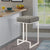 BM168067 Bar Stool with Upholstered Gray Seat with Chrome Base