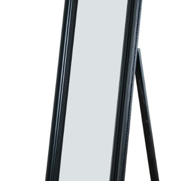 Camilla Full Length Standing Mirror with Decorative Design, Black - BM168242
