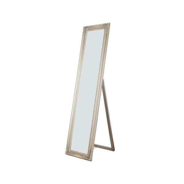 BM168253 Standing Mirror with Decorative Design, Champagne Gold