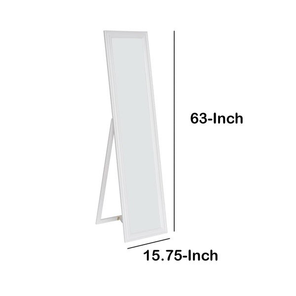 Elisabetta Full Length Standing Mirror with Decorative Design, White - BM168265