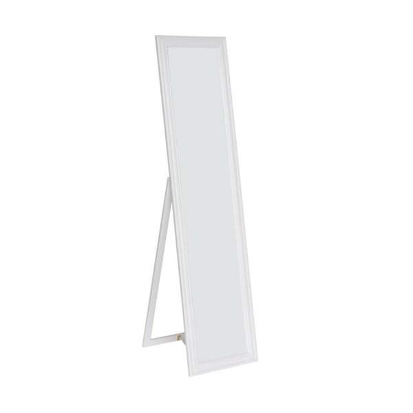 BM168265 Standing Mirror with Decorative Design, White