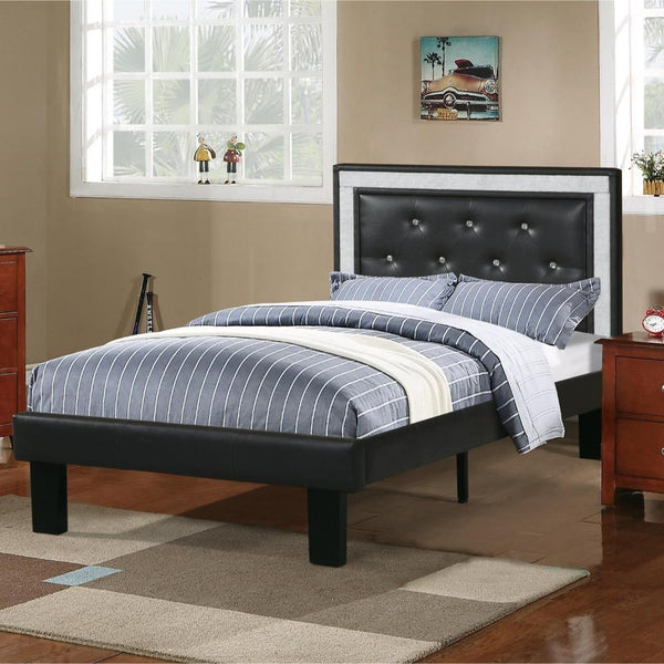 BM168653 Wooden Full Bed With Ash-Black PU Tufted Head Board, Black Finish