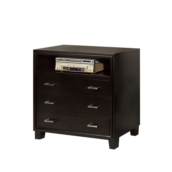 BM168975 3 Drawer And 1 Open shelved Contemporary Media Chest, Espresso Brown