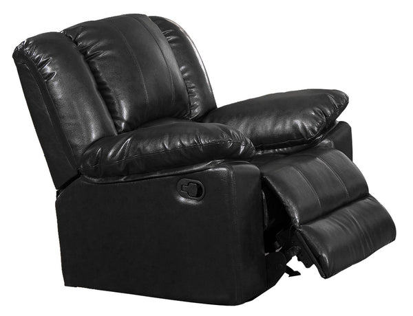 BM170310 Leatherette Recliner Chair With Plush Upholstery, Black