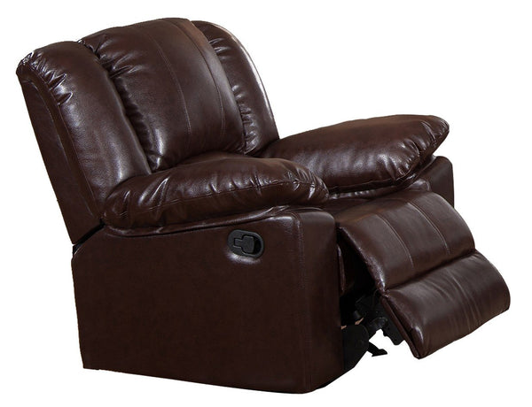 BM170313 Recliner Chair With Plush Leatherette Upholstery, Dark Brown