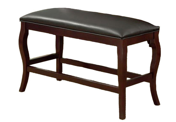BM170319 Wooden Bench with Cushioned Seat, Cherry Brown