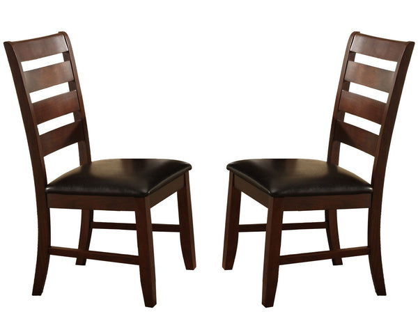 BM170326 Wooden Dining Chair With Ladder Back Design, Set of 2, Dark Brown