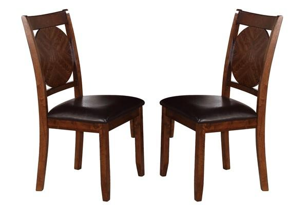 BM170331 Dining Chairs With Round Wooden Back, Set of 2, Dark Brown