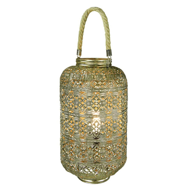 BM170681 Metal Lantern With Rope Handle, Gold
