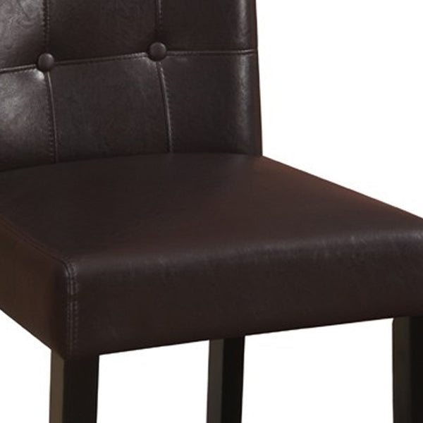 Wooden height chair With Button Tufted Back Set Of 2 Brown - BM171197