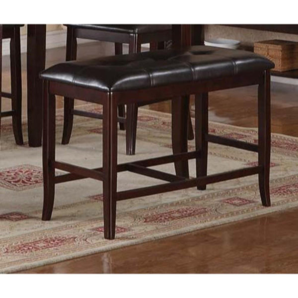 BM171198 Rubber Wood High Bench with Tufted Upholstery Brown