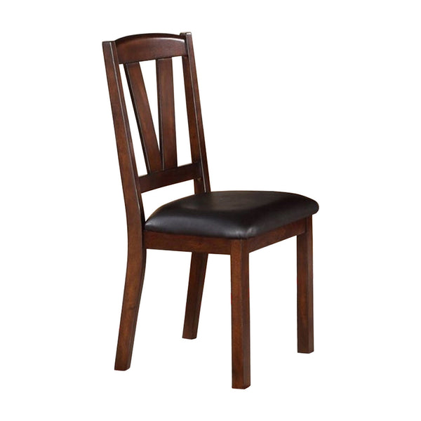 BM171214 Solid Wood Leather Seat Side Chair Brown Set of 2