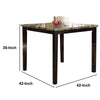 Spacious Wooden High Table Faux Marble Top Brown - BM171296