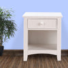 Wooden Night Stand With Bottom Open Shelf, White - BM171569